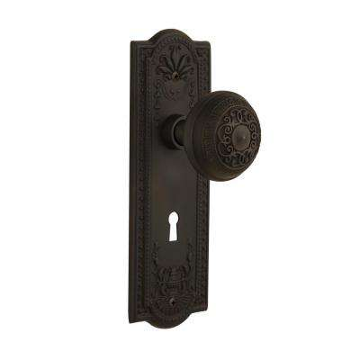 Meadows Plate with Keyhole 2-3/4 in. Backset Oil-Rubbed Bronze Privacy Bed/Bath Egg and Dart Door Knob
