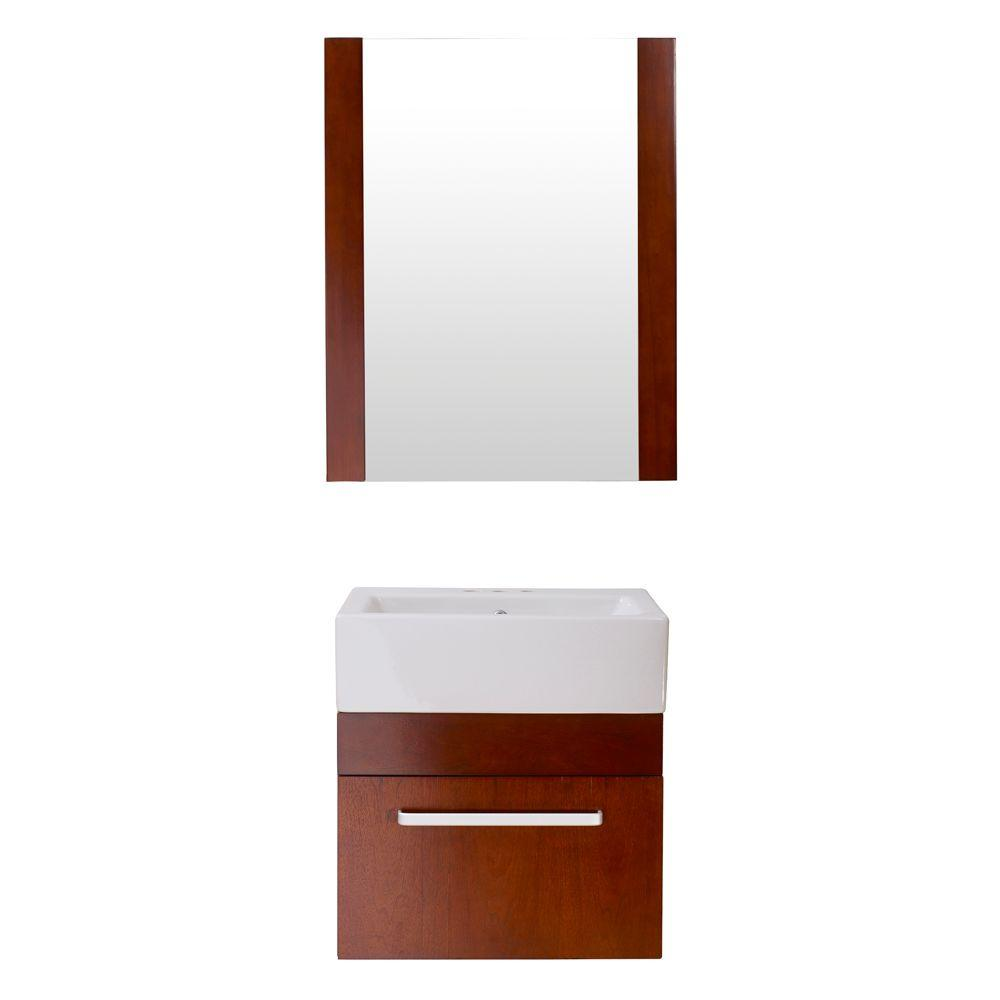 Home Decorators Collection Rayne 20 in. Floating Vanity with Square Vitreous China Vanity Top in White and Mirror in Cherry