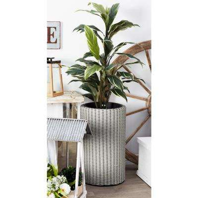 White Iron, Rattan and Polyester Planters with Gray Accents (Set of 3)