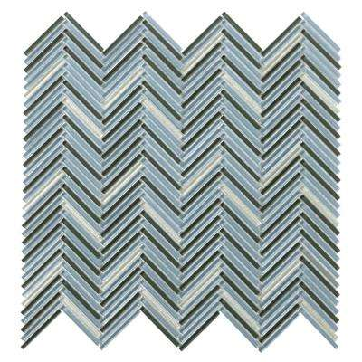 Pivot Turn Glossy 11.06 in. x 11.81 in. x 10mm Glass Mesh-Mounted Mosaic Tile