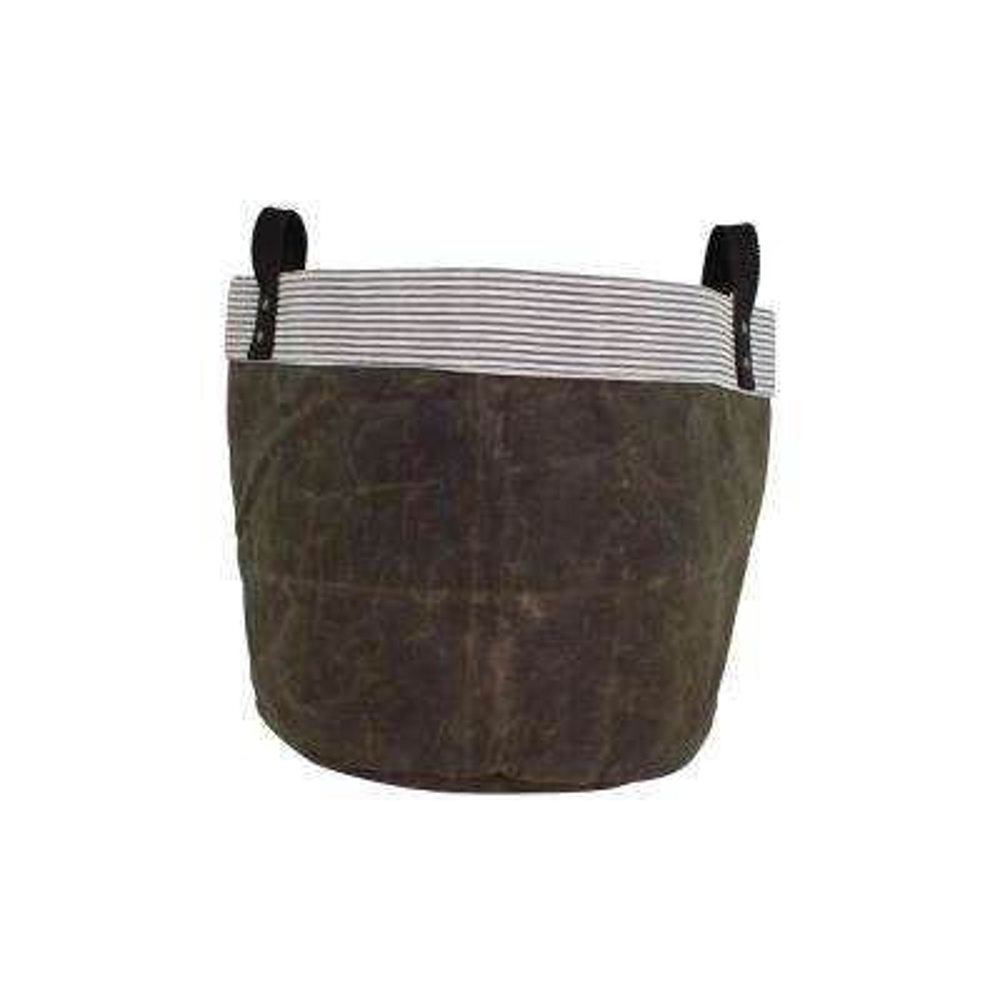 Medium Olive Waxed Canvas Round Bottom Fabric Storage Tub