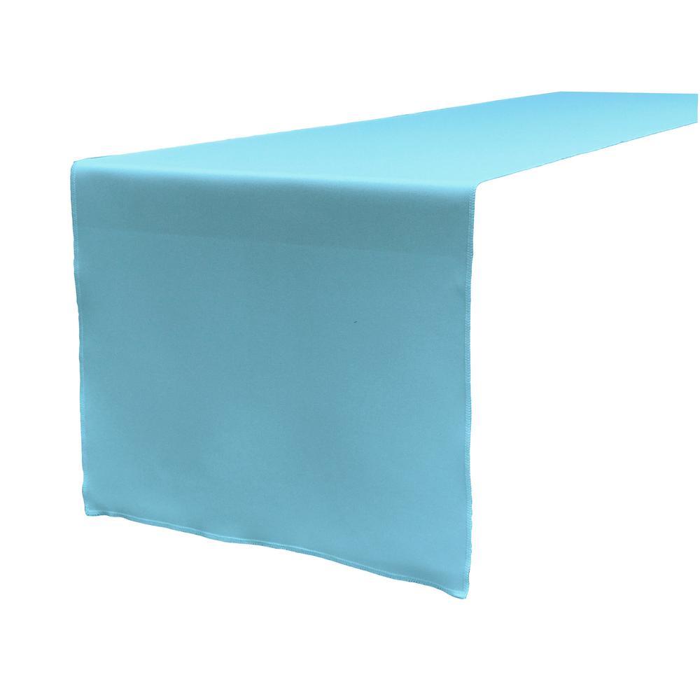 14 in. x 108 in. Light Turquoise Polyester Poplin Table Runner
