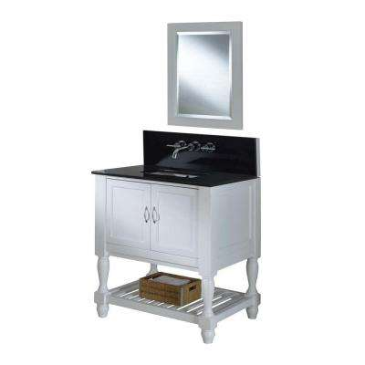 Mission Turnleg Spa Premium 32 in. Vanity in Pearl White with Granite Vanity Top in Black and Mirror