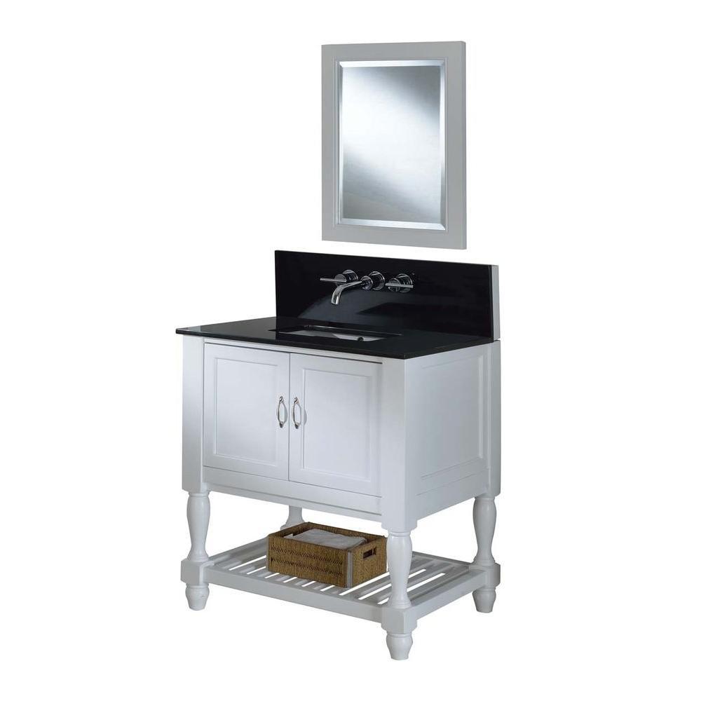Mission Turnleg Spa Premium 32 in. Vanity in Pearl White with Granite Vanity Top in Black and Mirror