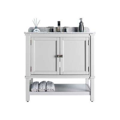 Ashlyn Single 22 in. W x 36 in. D Bath Vanity in Gray with Granite Vanity Top in White with Black Nickel Basin