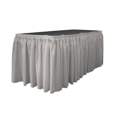 14 ft. x 29 in. Long Light Gray Polyester Poplin Table Skirt with 10 L-Clips
