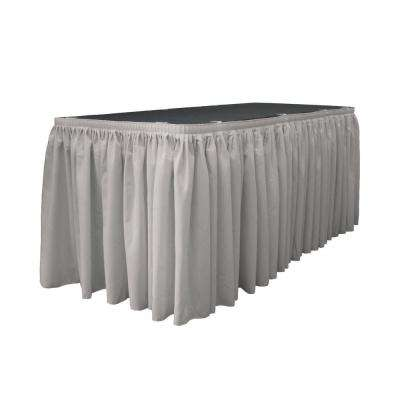 21 ft. x 29 in. Long Light Gray Polyester Poplin Table Skirt with 15 L-Clips