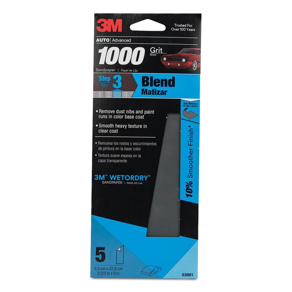 3M Wetordry 3-2/3 inch x 9 inch 1000 Grit Sandpaper by 3M