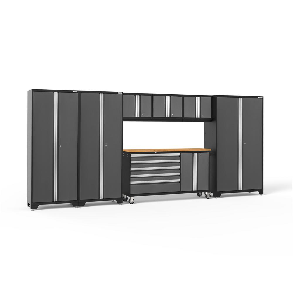 NewAge Products Bold Series 174 in. W x 77.25 in. H x 18 in. D 24-Gauge Welded Steel Garage Cabinet Set in Gray (7-Piece)