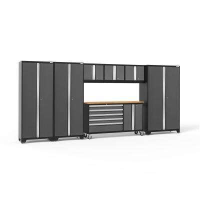Bold Series 174 in. W x 77.25 in. H x 18 in. D 24-Gauge Welded Steel Garage Cabinet Set in Gray (7-Piece)