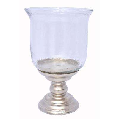 14.5 in. Hurricane Pillar Small Candle Holder in Silver