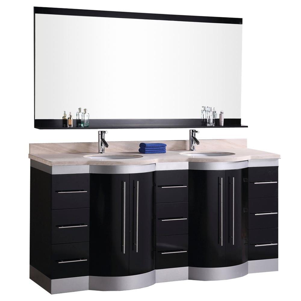 Design Element Vanity Espresso Vanity Top Mirror Cream