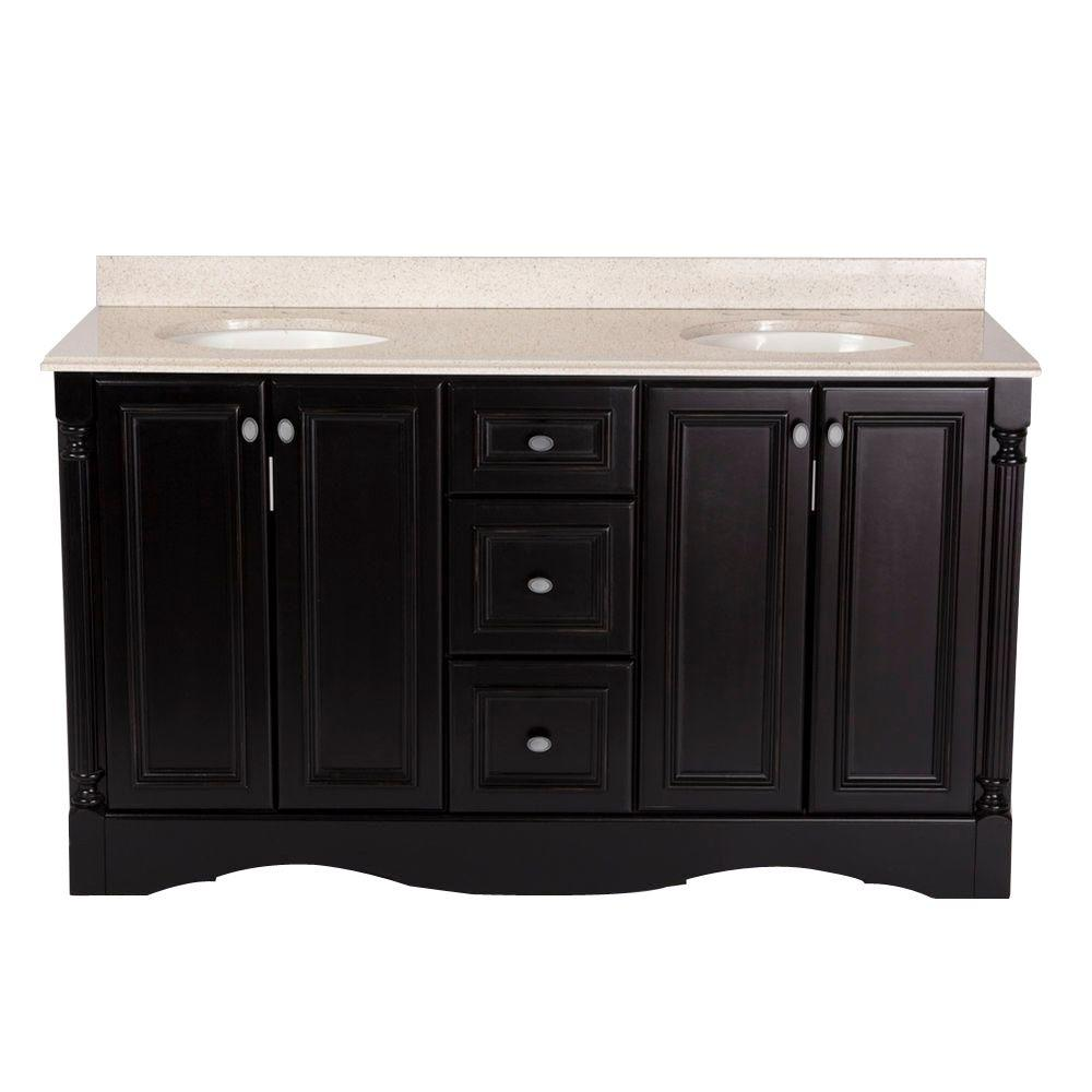 St. Paul Valencia 60 in. Vanity in Antique Black with Colorpoint Vanity Top in Maui