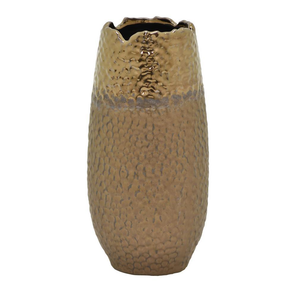 9.75 in. Ceramic Vase in Bronze