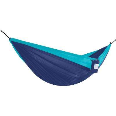 10.6 ft Portable Nylon Hammock in Navy and Turquoise