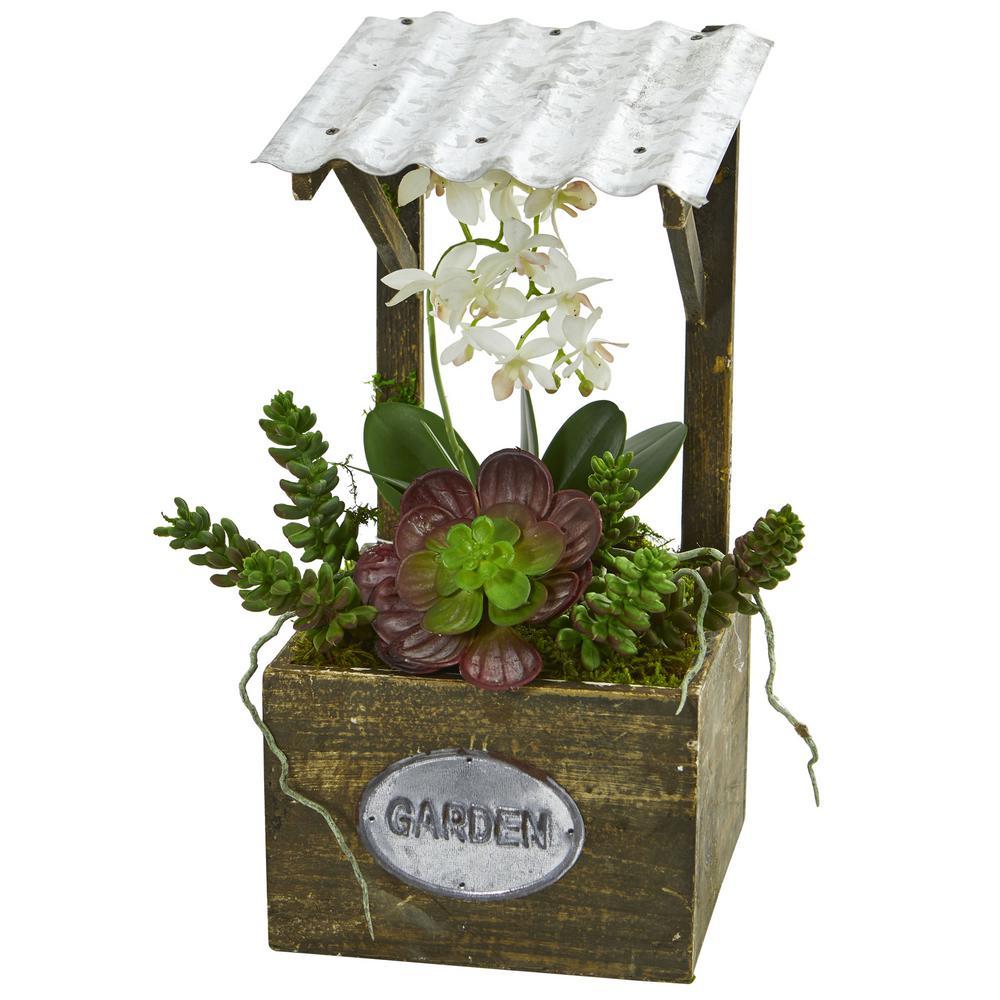Indoor Phalaenopsis Orchid and Succulent Artificial Arrangement