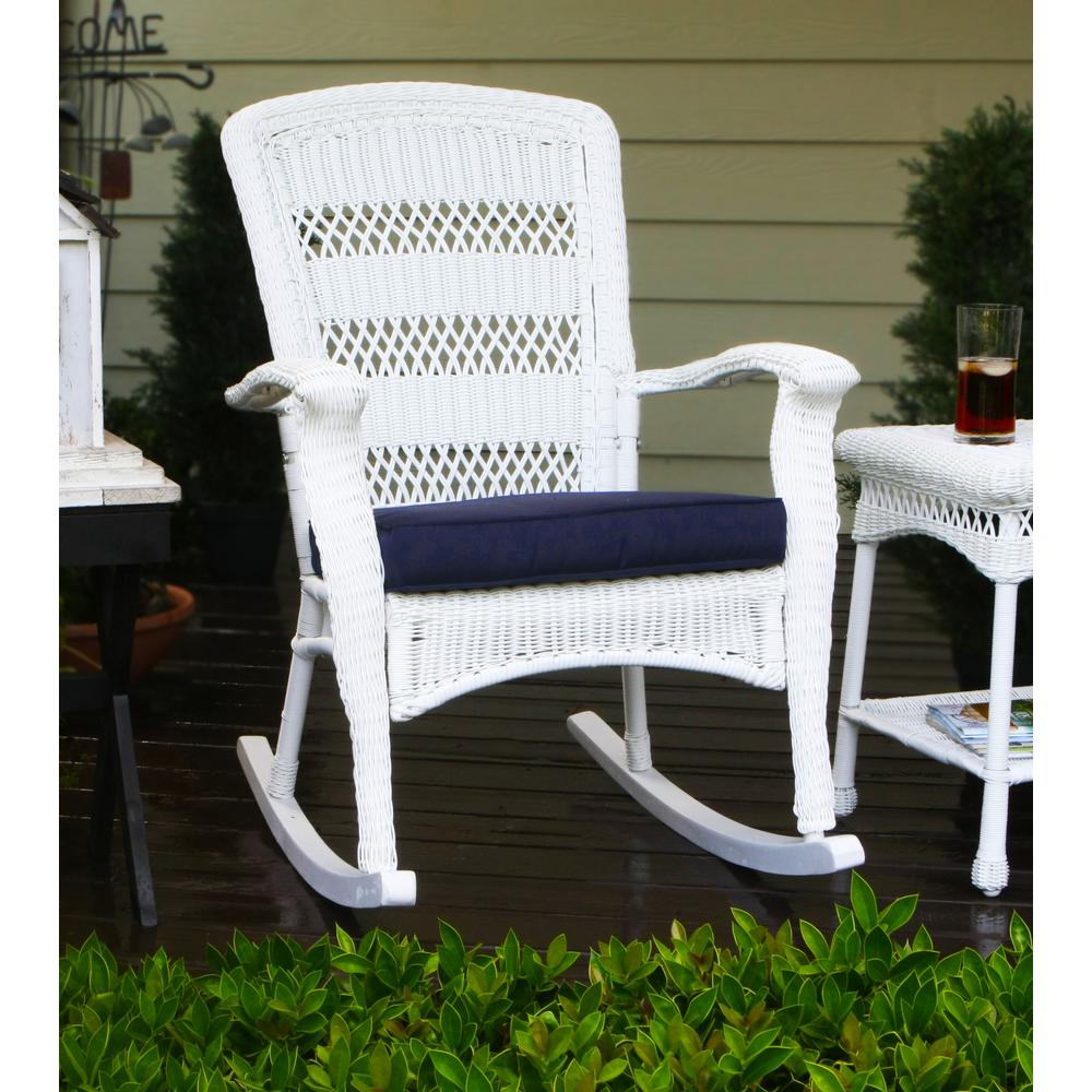 tortuga outdoor portside plantation outdoor rocking chair white wicker with blue cushion psr p. Black Bedroom Furniture Sets. Home Design Ideas