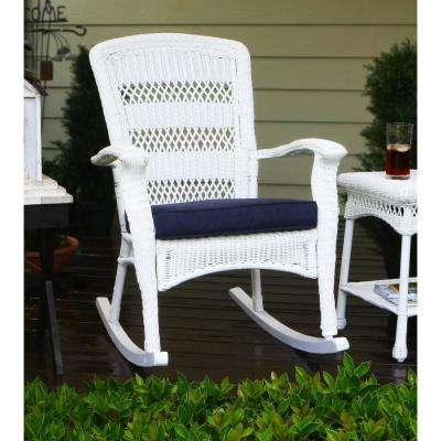 White Outdoor Patio Furniture.Portside Plantation Outdoor Rocking Chair White Wicker With Blue Cushion