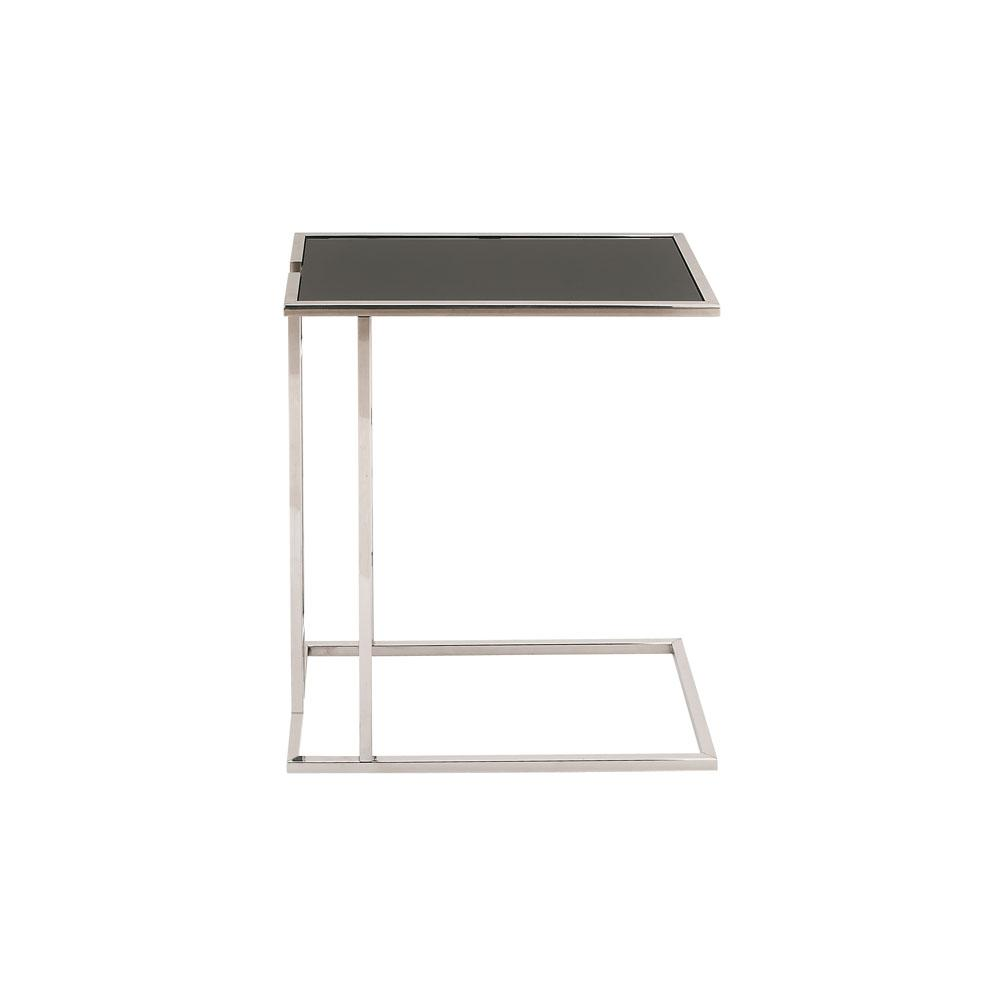 Metallic Silver Rectangular Accent Table with Black Table Top