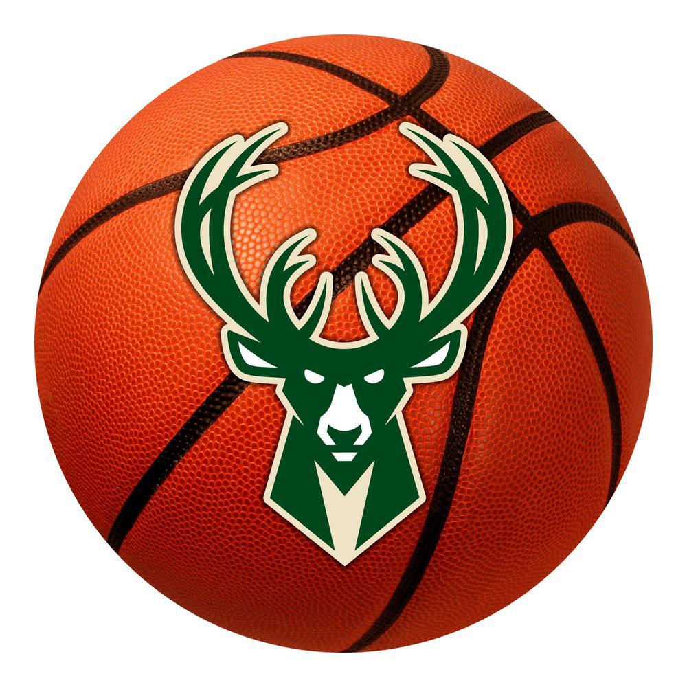 NBA - Milwaukee Bucks Photorealistic 27 in. Round Basketball Mat