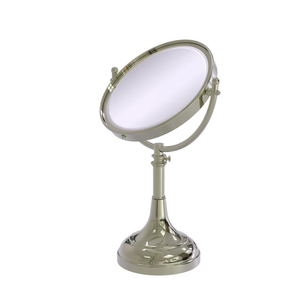 Height Adjustable 8 in. Vanity Top Makeup Mirror 3x Magnification in Polished Nickel