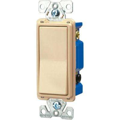 Standard Grade 15 Amp 120-Volt/277-Volt 4-Way Decorator Switch with Back - Push and Side Wiring in Ivory Color