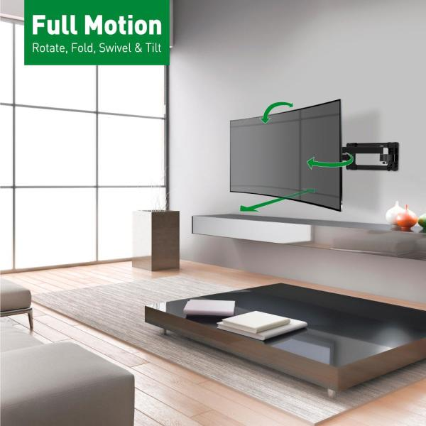 4 Movement Long Flat Curved Tv Wall, Extra Long Arm Full Motion Mount For Tv