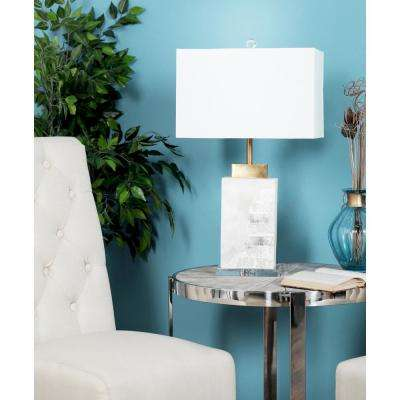27 in. White Square Marble Table Lamp