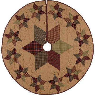 55 in. Tea Star Dark Tan Traditional Christmas Decor Mini Tree Skirt