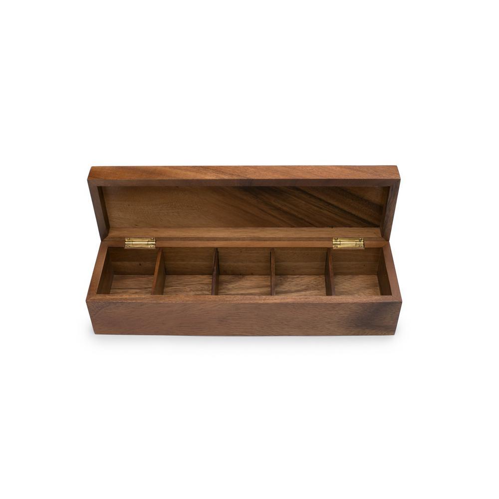 Townhouse 5-Compartment Wood Tea Box