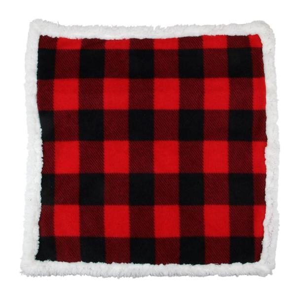 Black and Red Buffalo Plaid 19.5 Throw Pillow Cover with Sherpa Backing