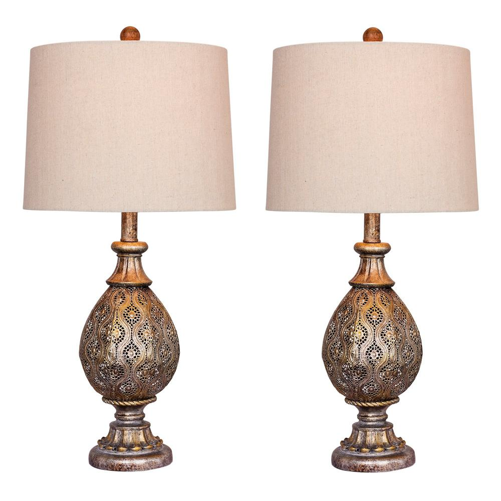 Fangio Lighting 27 in. Rust Grey Moroccan Filigree Pedestal Urn Metal Table Lamps