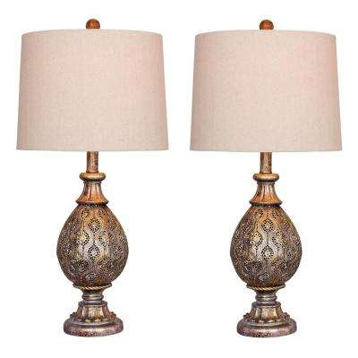 27 in. Rust Grey Moroccan Filigree Pedestal Urn Metal Table Lamps