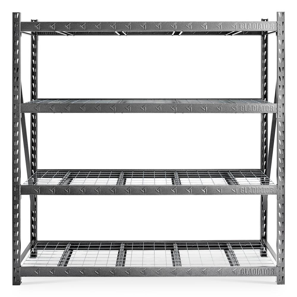 90 in. H x 90 in. W x 24 in. D Welded Steel Heavy-Duty 4-Shelf Mega Rack
