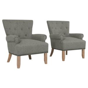 Pleasing Handy Living Chauncey Granite Gray Button Tufted Arm Chair Bralicious Painted Fabric Chair Ideas Braliciousco