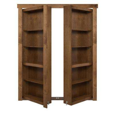 60 in. x 80 in. Flush Mount Assembled Maple Medium Brown Stained Universal Solid Core Interior French Bookcase Door