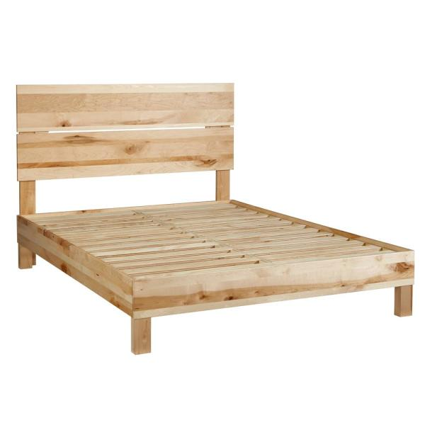 Progressive Furniture Jakob Natural Rustic Maple Queen Platform Bed With Headboard I100 34 39 The Home Depot