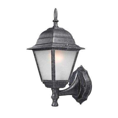 Traditional Wall-Mount 14.25 in. Outdoor Faux Stone Lantern with White Frosted Glass