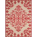 Aloha Red 4 ft. x 6 ft. Medallion Modern Indoor/Outdoor Area Rug