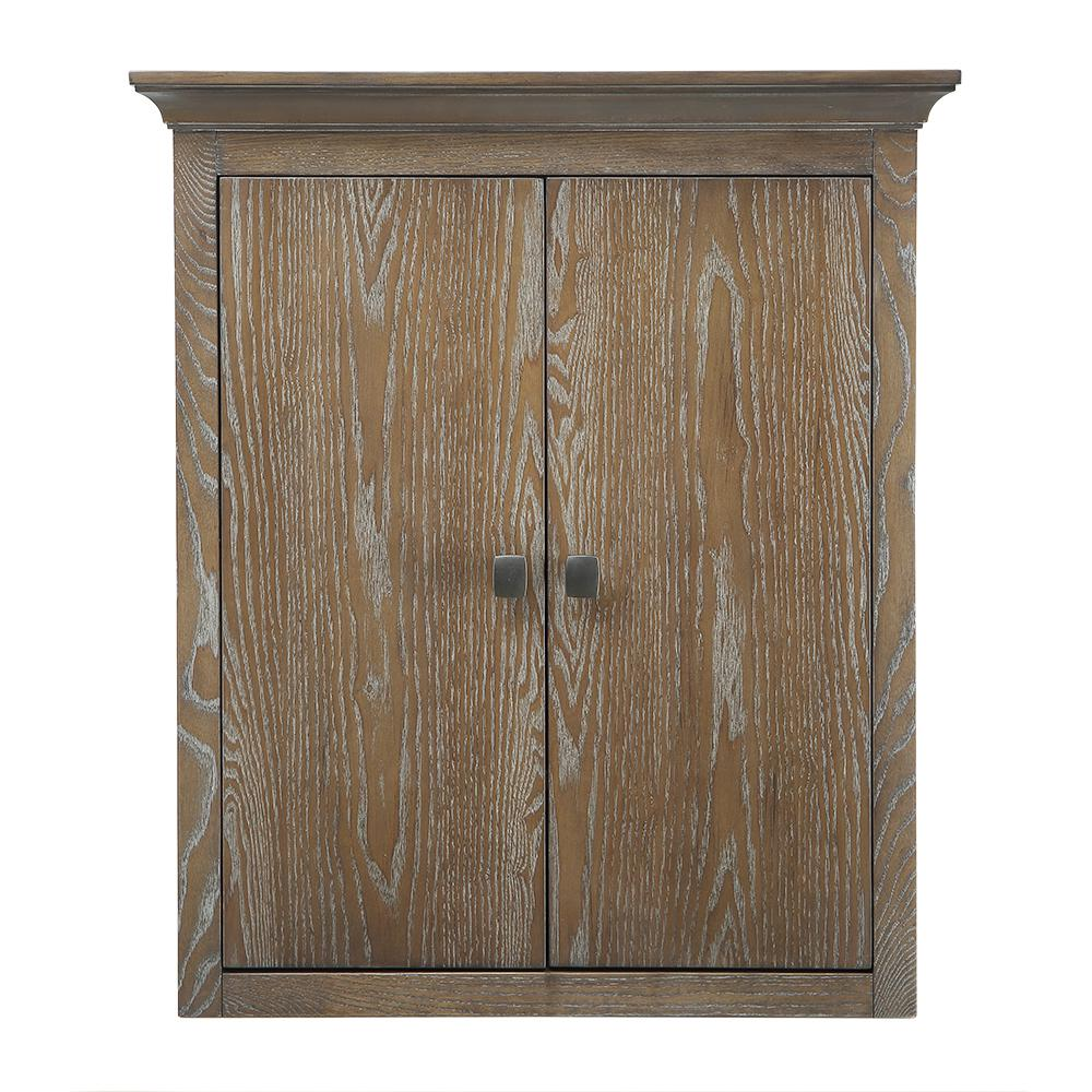 Home Decorators Collection Brisbane 24 in. W x 27 in. H x 7-3/4 in. D Bathroom Storage Wall Cabinet in Weathered Grey Oak