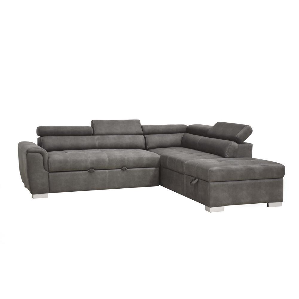 acme furniture thelma gray polished microfiber sectional sofa 50275 rh homedepot com acme milano sectional sofa acme milano sectional sofa