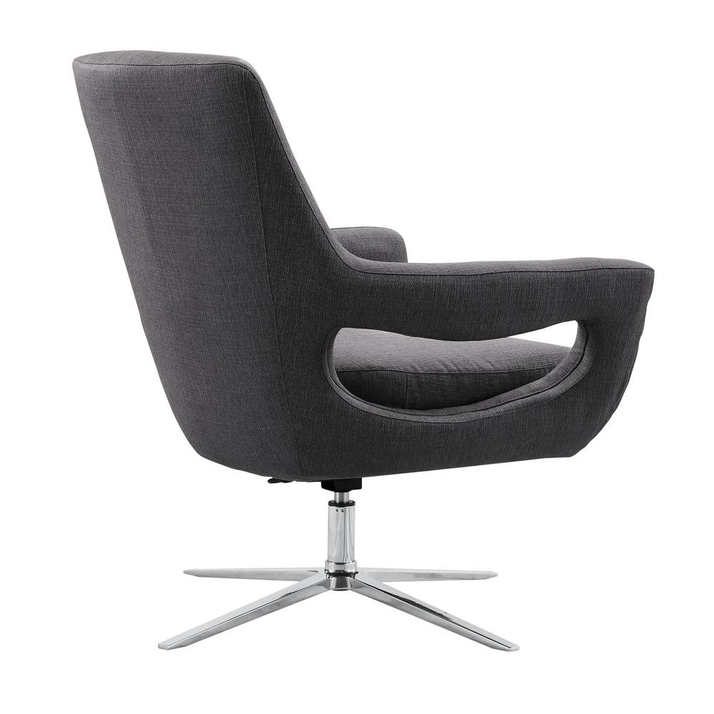 Armen Living Quinn Contemporary Adjustable Swivel Accent Chair in Polished