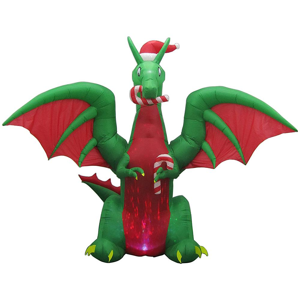 Home Accents Holiday 11 ft. Animated Inflatable Kaleidoscope Dragon with Santa Hat