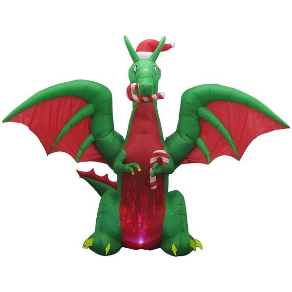 9 ft. Animated Inflatable Kaleidoscope Dragon with Santa Hat