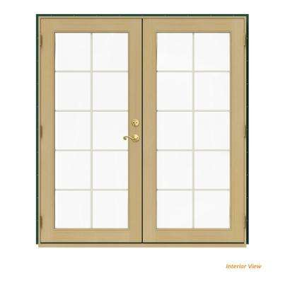 72 in. x 80 in. W-2500 Green Clad Wood Right-Hand 10 Lite French Patio Door w/Unfinished Interior