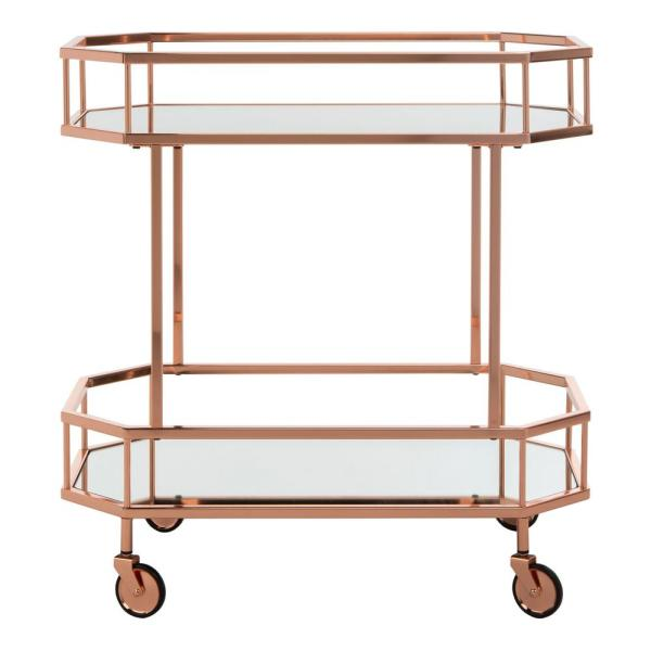 Silva 2-Tier Rose Gold Bar Cart