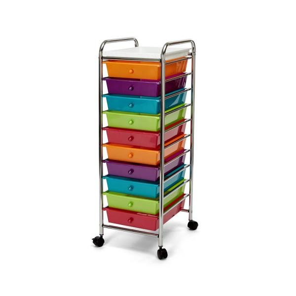 10-Drawer Steel Organizer Wheeled Cart with Removable Top Tray in Pearlescent Multi-Color