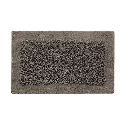 Bath Rug, Cotton and Chenille, 36x24 Inch, Latex Spray Non-Skid Backing, Gray Color, Long Noodle Loop Pattern