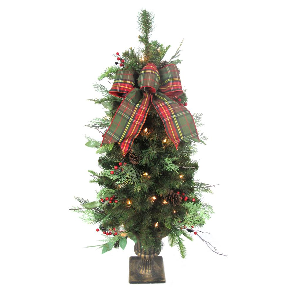 Home Accents Holiday 4 Ft Pre Lit Woodmoore Tales Artificial Porch Tree With 50