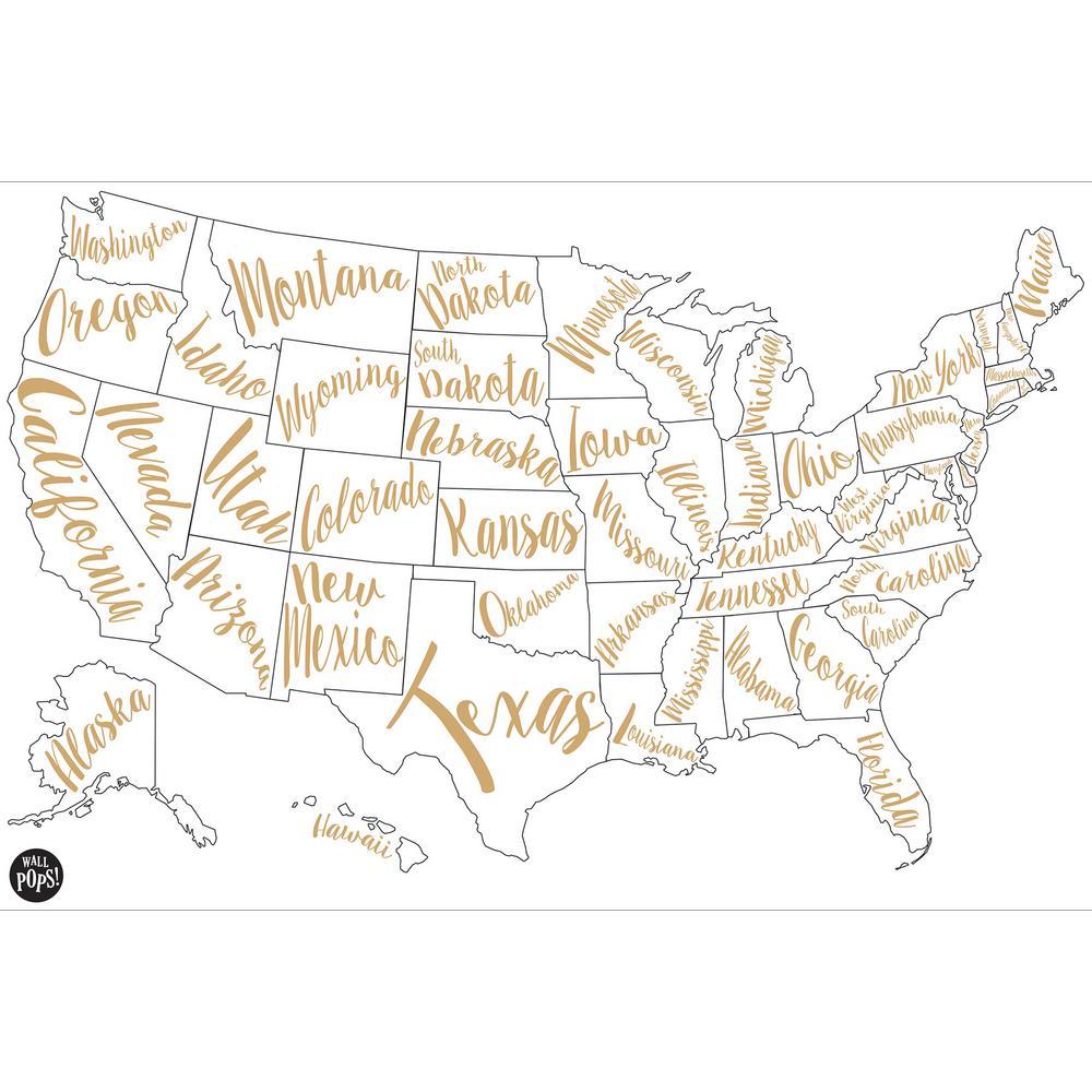 24 in. x 36 in. Gold Script Map Wall Art Kit